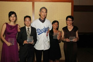 The 2013 National Journalism Award winners pose with their plaques (from left to right: Mina Kimes, Unlimited Subject Matter - Print; Howard Chen accepting for Adela Uchida, AAPI Issues - Television; Fred Katayama, Unlimited Subject Matter - Television; Heidi Chang, AAPI Issues - Radio; Nancy Matsumoto, AAPI Issues - Online). (Photo by Lia Chang/AsianConnections.com.)