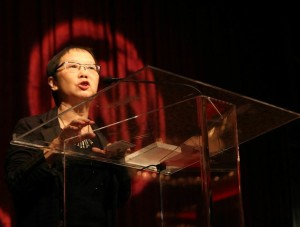 Yuen Ying Chan speaks after accepting the 2013 Lifetime Achievement Award. (Photo by Lia Chang/AsianConnections.com.)